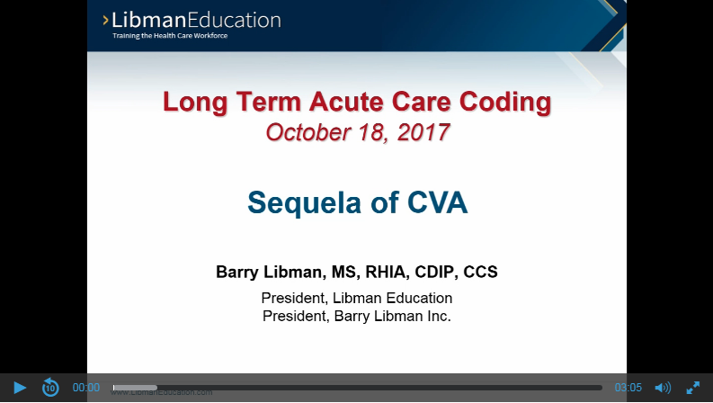Sequela of CVA (Long Term Acute Care Coding)