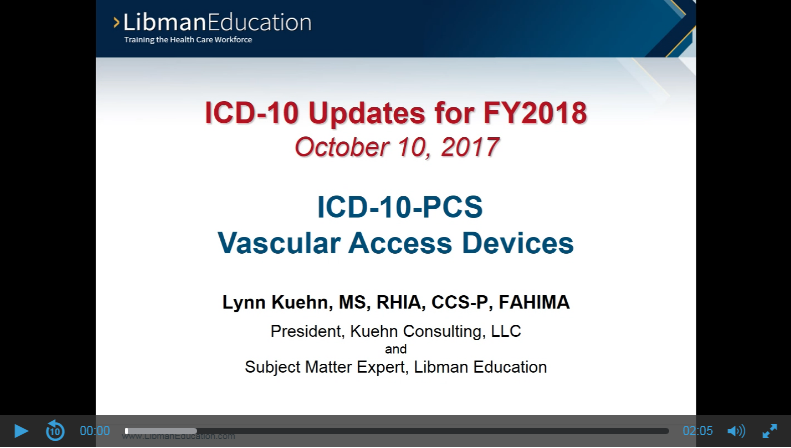 ICD-10-PCS Vascular Access Devices (ICD-10 Updates for FY2018)