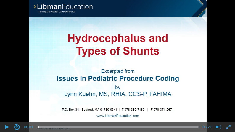 Hydrocephalus and Types of Shunts (Issues in Pediatric Procedure Coding)