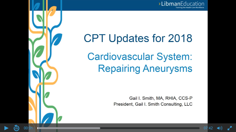 Cardiovascular System: Repairing Aneurysms (CPT Updates for 2018)