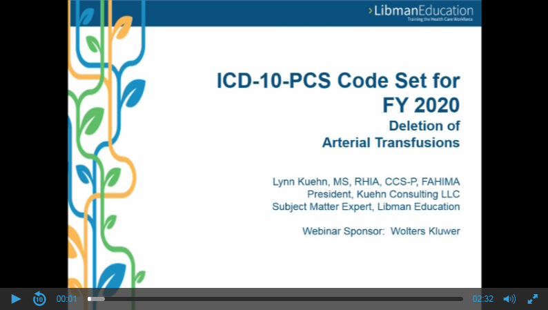 ICD-10-PCS Code Set for FY 2020: Deletion of Arterial Transfusions
