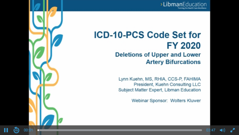 ICD-10-PCS Code Set for FY 2020: Deletions of Upper and Lower Artery Bifurcations
