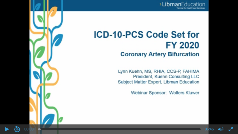 ICD-10-PCS Code Set for FY 2020: Coronary Artery Bifurcation