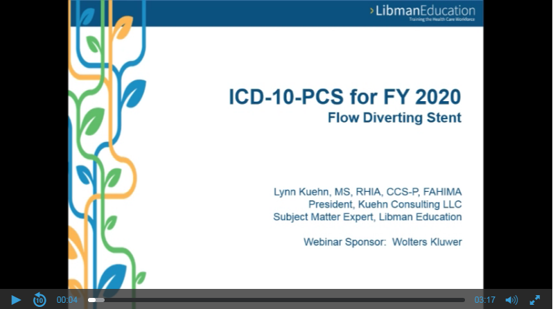 ICD-10-PCS for FY 2020: Flow Diverting Stent